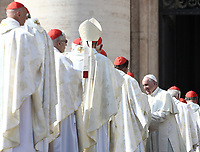 Pope Francis greets prelates after celebrating a canonization mass  in St. Peter's Square at the Vatican, on October 14, 2018.<br /> UPDATE IMAGES PRESS/Isabella Bonotto<br /> <br /> STRICTLY ONLY FOR EDITORIAL USE
