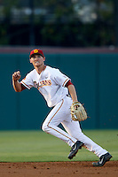 Blake Lacey #26 of the USC Trojans at shortstop during a baseball game against the Oregon Ducks at Dedeaux Field on March 15, 2013 in Los Angeles, California. (Larry Goren/Four Seam Images)