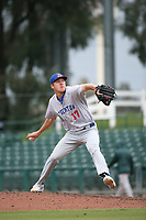 Peter Bayer (17) of the Stockton Ports pitches against the Inland Empire 66ers at San Manuel Stadium on May 26, 2019 in San Bernardino, California. (Larry Goren/Four Seam Images)