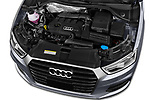 Car stock 2018 Audi Q3 Premium 5 Door SUV engine high angle detail view