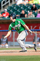 Dayton Dragons first baseman Daniel Pigott (7) during a game against the Lansing Lugnuts on August 25, 2013 at Cooley Law School Stadium in Lansing, Michigan.  Dayton defeated Lansing 5-4 in 11 innings.  (Mike Janes/Four Seam Images)