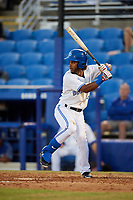 Dunedin Blue Jays second baseman Ivan Castillo (1) at bat during a game against the Fort Myers Miracle on April 17, 2018 at Dunedin Stadium in Dunedin, Florida.  Dunedin defeated Fort Myers 5-2.  (Mike Janes/Four Seam Images)
