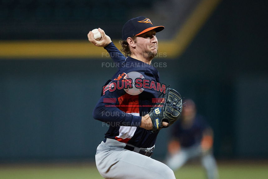 Bowling Green Hot Rods starting pitcher John Doxakis (13) in action against the Winston-Salem Dash at Truist Stadium on September 7, 2021 in Winston-Salem, North Carolina. (Brian Westerholt/Four Seam Images)