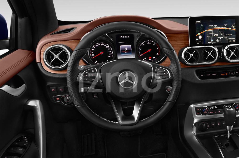 Car pictures of steering wheel view of a 2018 Mercedes Benz X Class Power 4 Door Pick Up