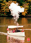 SOUTHBURY,CT. 10/12/98--1012SV01.tif--Deane Allen of Orange navigates his steam boat on Lake Zoar on Southbury. He along with other friend make it an annual Columbus Day tradition on the lake. Steven Valenti Photo for Gardner story.