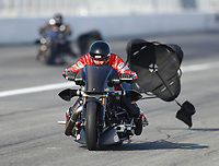 Feb 8, 2020; Pomona, CA, USA; NHRA top fuel nitro Harley Davidson motorcycle rider Randal Andras during qualifying for the Winternationals at Auto Club Raceway at Pomona. Mandatory Credit: Mark J. Rebilas-USA TODAY Sports