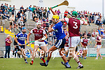 Kevin Hannafin, St. Brendans, in action against Muiris Delaney, Causeway, during the County Senior hurling Semi-Final between St. Brendans and Causeway at Austin Stack park on Sunday.