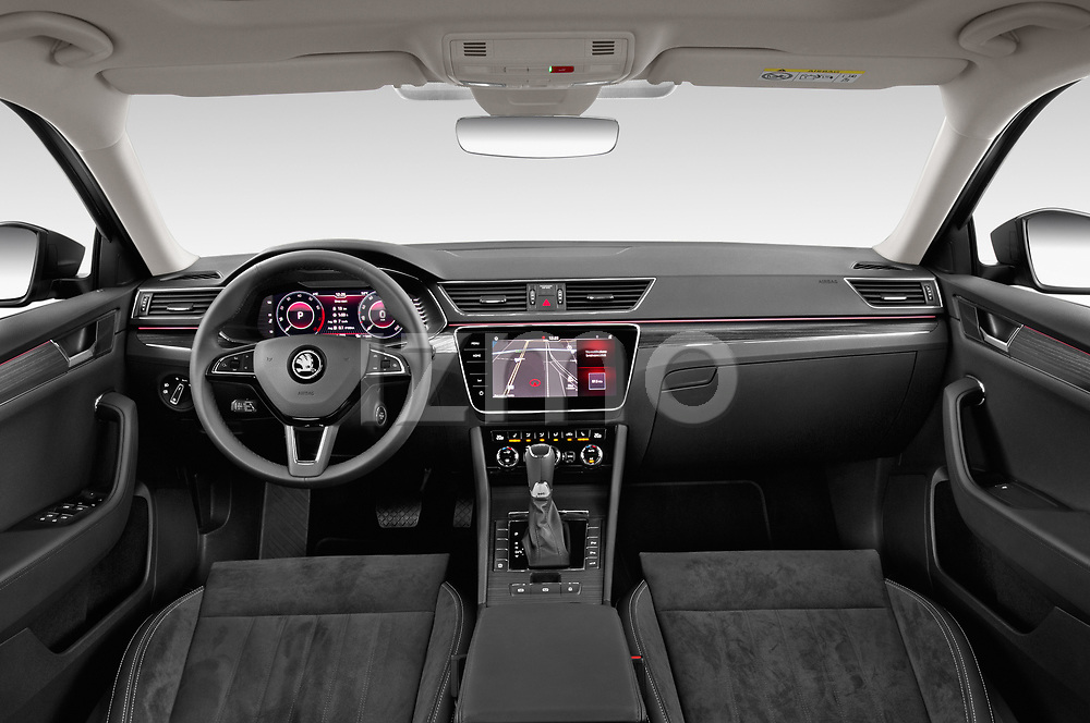 Stock photo of straight dashboard view of 2020 Skoda Superb 5 Door Wagon Dashboard
