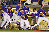 LSU Tigers shortstop Alex Bregman (8) celebrates during an LSU rally in the Southeastern Conference baseball game against the Texas A&M Aggies on April 24, 2015 at Alex Box Stadium in Baton Rouge, Louisiana. LSU defeated Texas A&M 9-6. (Andrew Woolley/Four Seam Images)
