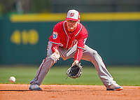15 March 2016: Washington Nationals infielder Brendan Ryan warms up fielding grounders prior to a Spring Training pre-season game against the Houston Astros at Osceola County Stadium in Kissimmee, Florida. The Nationals defeated the Astros 6-4 in Grapefruit League play. Mandatory Credit: Ed Wolfstein Photo *** RAW (NEF) Image File Available ***