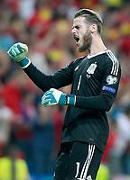 Spain's David De Gea celebrates goal during FIFA World Cup 2018 Qualifying Round match. September 2,2017.(ALTERPHOTOS/Acero)