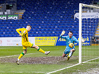 13th March 2021; Global Energy Stadium, Dingwall, Highland, Scotland; Scottish Premiership Football, Ross County versus Hibernian; Kevin Nisbet of Hibernian shoots and puts Hibs ahead 2-1 in the 60th minute