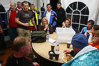 Saturday Oct 10 2009.  SCUBADIVE WEST, GALWAY, IRELAND:  Declan Devane recovers with his support team after spending almost 12 hours underwater in an attempt to set a world record.  Brothers Declan and  Paul Devane set ou to set ther world record and be the first divers to stay underwater on SCUBA for a period of 24-hours in water less than 15C.  Equipment failure forced Paul from the water just past the 6 hour mark while Declan made it to almost 12 hours.