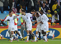 Teammates celebrate with Landon Donovan after his stoppage time winning goal. The United States won Group C of the 2010 FIFA World Cup in dramatic fashion, 1-0, over Algeria in Pretoria's Loftus Versfeld Stadium, Wednesday, June 23rd..