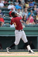 Second baseman Jorge Rivero (24) of the Savannah Sand Gnats bats in a game against the Greenville Drive on Sunday, August 24, 2014, at Fluor Field at the West End in Greenville, South Carolina. Greenville won, 8-5. (Tom Priddy/Four Seam Images)