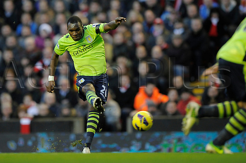 15.12.12 Liverpool, England.  Christian Benteke  of Aston Villa scores the first goal  during the Premier League game between Liverpool and Aston Villa from Anfield,Liverpool