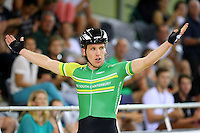 MSC Shane Archbold celebrates finishing first with Dylan Kennett in the 40km madison at the BikeNZ Elite & U19 Track National Championships, Avantidrome, Home of Cycling, Cambridge, New Zealand, Sunday, March 16, 2014. Credit: Dianne Manson