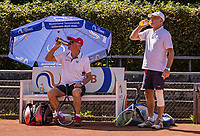 Hilversum, The Netherlands,  August 21, 2020,  Tulip Tennis Center, NKS, National Senior Tennis Championships, Men's doubles 80+, : Peter Buter (NED) and Hilbertus Emmink (NED)<br /> Photo: Tennisimages/Henk Koster