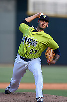 Starting pitcher Darwin Ramos (27) of the Columbia Fireflies delivers a pitch in a game against the Rome Braves on Sunday, August 20, 2017, at Spirit Communications Park in Columbia, South Carolina. Rome won, 11-6 in 16 innings. (Tom Priddy/Four Seam Images)