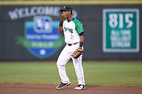Dayton Dragons second baseman Jeter Downs (2) fills his mouth with sunflower seeds during the game against the Bowling Green Hot Rods at Fifth Third Field on June 8, 2018 in Dayton, Ohio. The Hot Rods defeated the Dragons 11-4.  (Brian Westerholt/Four Seam Images)
