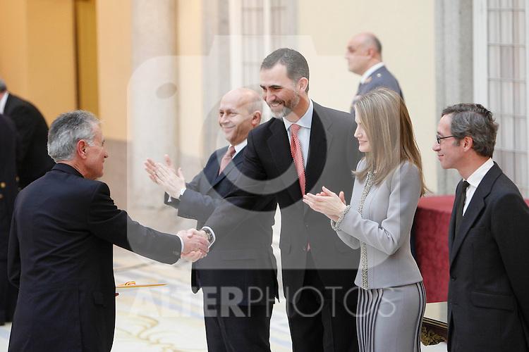 Jesus Hermida, Prince Felipe of Spain and Princess Letizia of Spain attend the National Awards of Culture 2011 and 2012 at Palacio de El Pardo. February 19, 2013. (ALTERPHOTOS/Caro Marin)