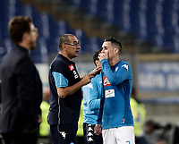 Calcio, Serie A: Roma, stadio Olimpico, 14 ottobre 2017.<br /> Napoli's coach Maurizio Sarri (l) speaks with Napoli's José Maria Callejon (r) during the Italian Serie A football match between Roma and Napoli at Rome's Olympic stadium, October14, 2017.<br /> UPDATE IMAGES PRESS/Isabella Bonotto