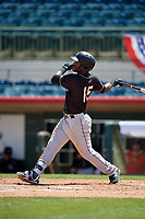 Jupiter Hammerheads Isael Soto (15) bats during a Florida State League game against the Florida Fire Frogs on April 11, 2019 at Osceola County Stadium in Kissimmee, Florida.  Jupiter defeated Florida 2-0.  (Mike Janes/Four Seam Images)