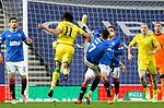 26.12.2020 Rangers v Hibs: Ianis Hagi catches Joe Newell with a high boot