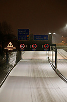 WEATHER PICTURE WALES<br /> Pictured: The M4 motorway remains empty of cars in the early hours of the morning, near Newport because of the snow in south Wales, UK.<br /> Re: Snow caused by the Beast from the East hits parts of the UK.