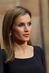 Queen Letizia of Spain attended an audience with Principe de Asturias Awards 2014 winners at the Reconquista Hotel on October 24, 2014 in Oviedo, Spain. (POOL/ALTERPHOTOS)