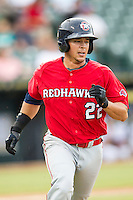 Oklahoma City RedHawks second baseman Joe Sclafani (22) runs to first base during the Pacific Coast League baseball game against the Round Rock Express on August 1, 2014 at the Dell Diamond in Round Rock, Texas. The Express defeated the RedHawks 6-5. (Andrew Woolley/Four Seam Images)