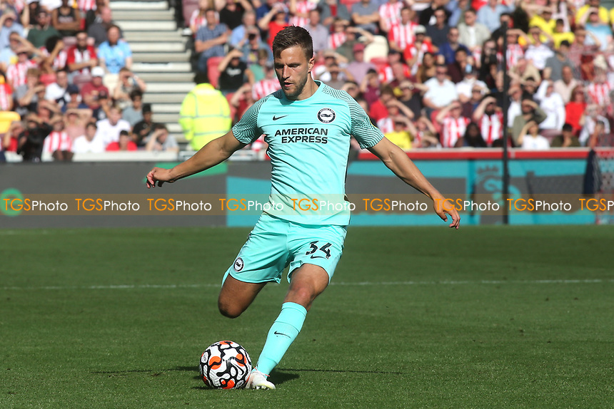 Joel Veltman of Brighton & Hove Albion in action during Brentford vs Brighton & Hove Albion, Premier League Football at the Brentford Community Stadium on 11th September 2021