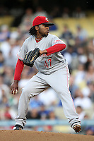 Cincinnati Reds pitcher Johnny Cueto #47 pitches against the Los Angeles Dodgers at Dodger Stadium on June 14, 2011 in Los Angeles,California. (Larry Goren/Four Seam Images)