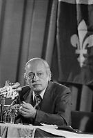 ARCHIVE -<br /> <br />  Le Premier Ministre et chef du PQ ; René Lévesque, le 14 Janvier 1977, a ,Université de Montréal.<br /> <br /> Photo : Agence Quebec Presse  - Alain Renaud
