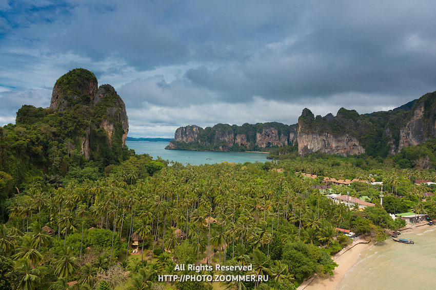 Aerial view of Railay beach from the cliff, Krabi, Thailand