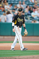 Taylor Ward (3) of the Salt Lake Bees on defense against the New Orleans Baby Cakes at Smith's Ballpark on June 8, 2018 in Salt Lake City, Utah. Salt Lake defeated New Orleans 4-0.  (Stephen Smith/Four Seam Images)