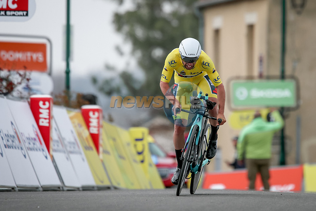 Race leader Yellow Jersey Michael Matthews (AUS) Team BikeExchange during Stage 3 of Paris-Nice 2021, an individual time trial running 14.4km around Gien, France. 9th March 2021.<br /> Picture: ASO/Fabien Boukla | Cyclefile<br /> <br /> All photos usage must carry mandatory copyright credit (© Cyclefile | ASO/Fabien Boukla)