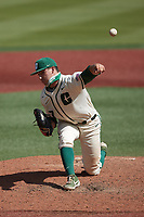 Charlotte 49ers relief pitcher Christian Lothes (27) in action against the Old Dominion Monarchs at Hayes Stadium on April 25, 2021 in Charlotte, North Carolina. (Brian Westerholt/Four Seam Images)