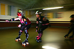 February 19, 2008; Santa Cruz, CA, USA; Female athletes skate during Santa Cruz Rollergirls practice in Santa Cruz, CA. Photo by: Phillip Carter