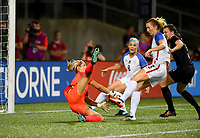 Cincinnati, OH - Tuesday September 19, 2017: Erin Naylor, Samantha Mewis during an International friendly match between the women's National teams of the United States (USA) and New Zealand (NZL) at Nippert Stadium.