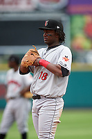 Indianapolis Indians first baseman Josh Bell (18) during a game against the Rochester Red Wings on May 26, 2016 at Frontier Field in Rochester, New York.  Indianapolis defeated Rochester 5-2.  (Mike Janes/Four Seam Images)