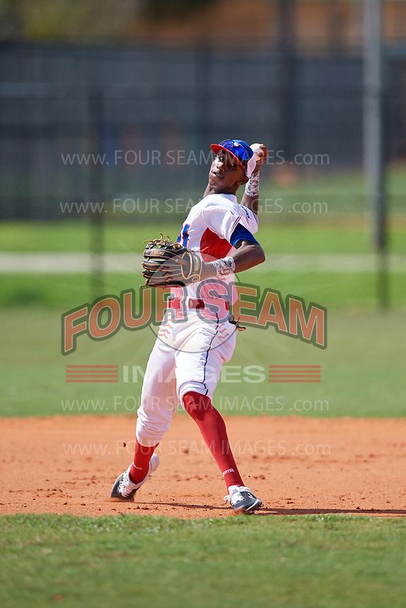 Abdias De La Cruz (2) during the Dominican Prospect League Elite Florida Event at Pompano Beach Baseball Park on October 15, 2019 in Pompano beach, Florida.  (Mike Janes/Four Seam Images)