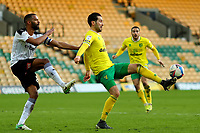 20th February 2021; Carrow Road, Norwich, Norfolk, England, English Football League Championship Football, Norwich versus Rotherham United; Mario Vrancic of Norwich City is under pressure from Michael Ihiekwe of Rotherham United