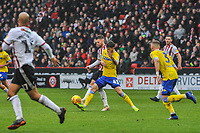 Leeds United's midfielder Mateusz Klich (43) blocks Sheffield United's midfielder Ollie Norwood (16) during the Sky Bet Championship match between Sheff United and Leeds United at Bramall Lane, Sheffield, England on 1 December 2018. Photo by Stephen Buckley / PRiME Media Images.
