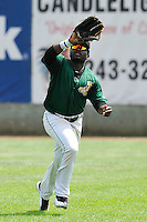 Chantz Mack #2 of the Clinton LumberKings catches a fly ball in right field against the Kane County Cougars at Ashford University Field on July 6, 2014 in Clinton, Iowa. The LumberKings won 1-0.   (Dennis Hubbard/Four Seam Images)