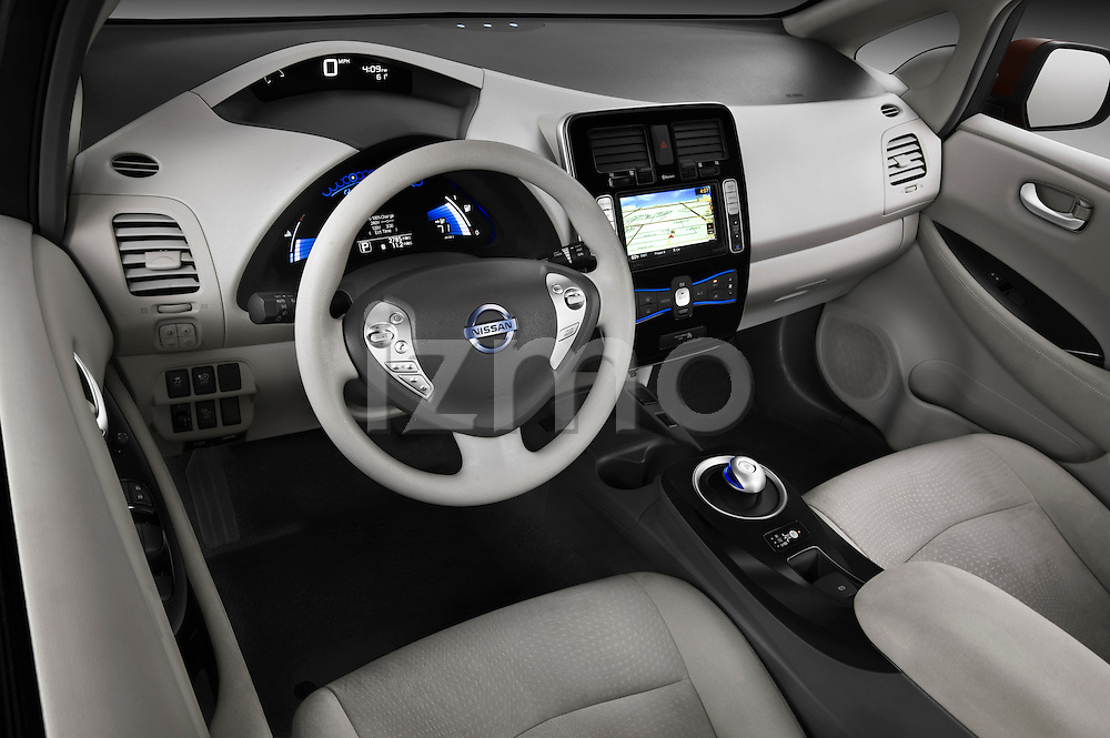 High angle dashboard view of a 2011 Nissan Leaf SL