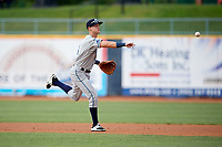 West Michigan Whitecaps second baseman Cameron Warner (4) throws to first base during the first game of a doubleheader against the Lake County Captains on August 6, 2017 at Classic Park in Eastlake, Ohio.  Lake County defeated West Michigan 4-0.  (Mike Janes/Four Seam Images)