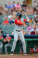 Lowell Spinners outfielder Williams Jerez (25) during a game against the Tri-City ValleyCats on July 6, 2013 at Joseph L. Bruno Stadium in Troy, New York.  Lowell defeated Tri-City 4-3.  (Mike Janes/Four Seam Images)