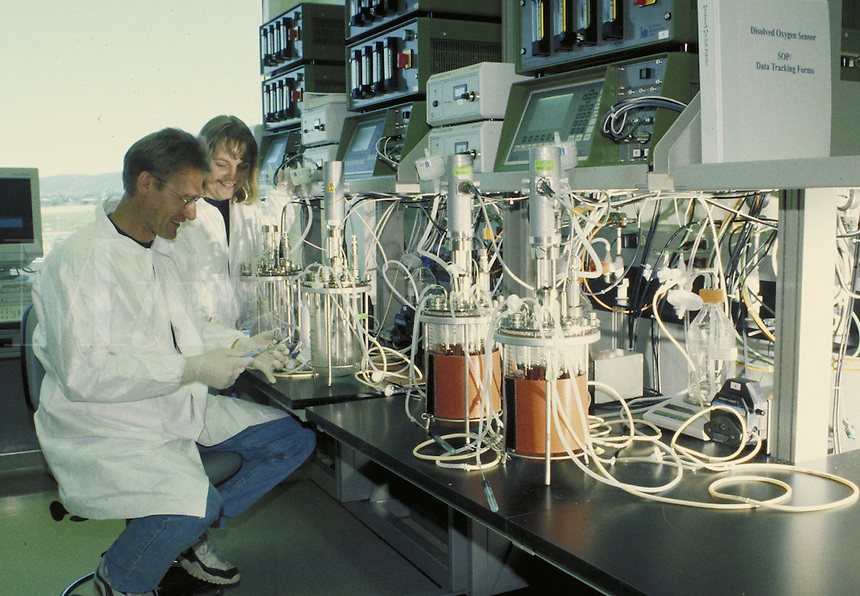 Lab technicians working in bioengineering laboratory, California. Technology. Research. Occupation. Career. California.