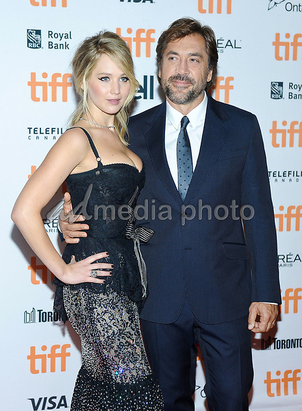 "10 September 2017 - Toronto, Ontario Canada - Jennifer Lawrence, Javier Bardem. 2017 Toronto International Film Festival - ""mother!"" Premiere held at TIFF Bell Lightbox. Photo Credit: Brent Perniac/AdMedia"